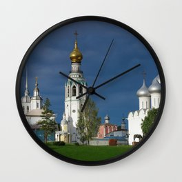 Landscape with the Ancient Saint Sophia Cathedral and Vologda Kremlin in the Russian North Wall Clock