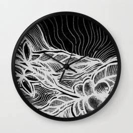 Coffee: from flower to toasted grain doodle. B&W. Wall Clock