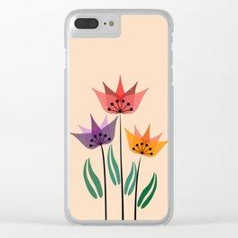 Retro tulips Clear iPhone Case