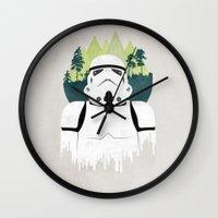 stormtrooper Wall Clocks featuring Stormtrooper by Robert Scheribel
