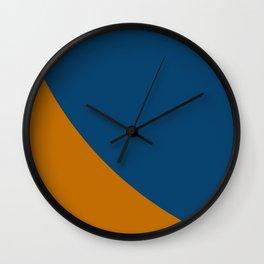 Blue Curve on Orange Wall Clock