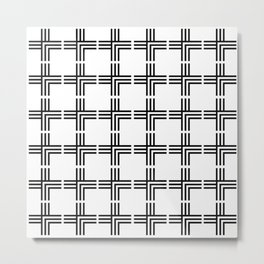 Geometric Plus Sign Pattern (white background) Metal Print
