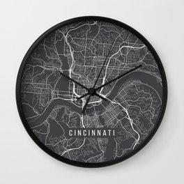 Cincinnati Map, USA - Gray Wall Clock