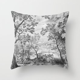 Landscape with Judah and Tamar Throw Pillow