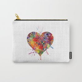 Heart Art Love Gift Watercolor Art Valentine's Day Gift Wedding Gift Engagement Gift Carry-All Pouch
