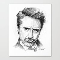 robert downey jr Canvas Prints featuring Robert Downey Jr by Creadoorm