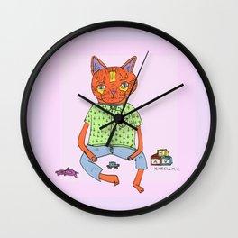 Cat On the Tracks  Wall Clock