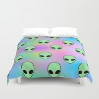 tumblr Duvet Covers featuring Aliens Tumblr by Hipster's Wonderland