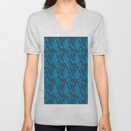 Leaves abstract in blue shades Unisex V-Neck