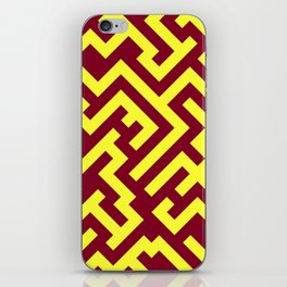 Electric Yellow and Burgundy Red Diagonal Labyrinth iPhone Skin