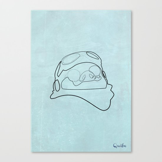 One line Porco Rosso (blue) Canvas Print