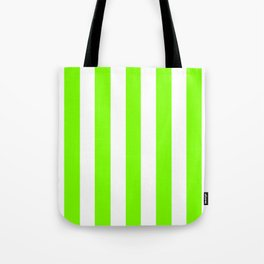 Chartreuse (web) green - solid color - white vertical lines pattern Tote Bag