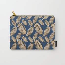 Modern navy blue faux gold glitter tropical floral Carry-All Pouch