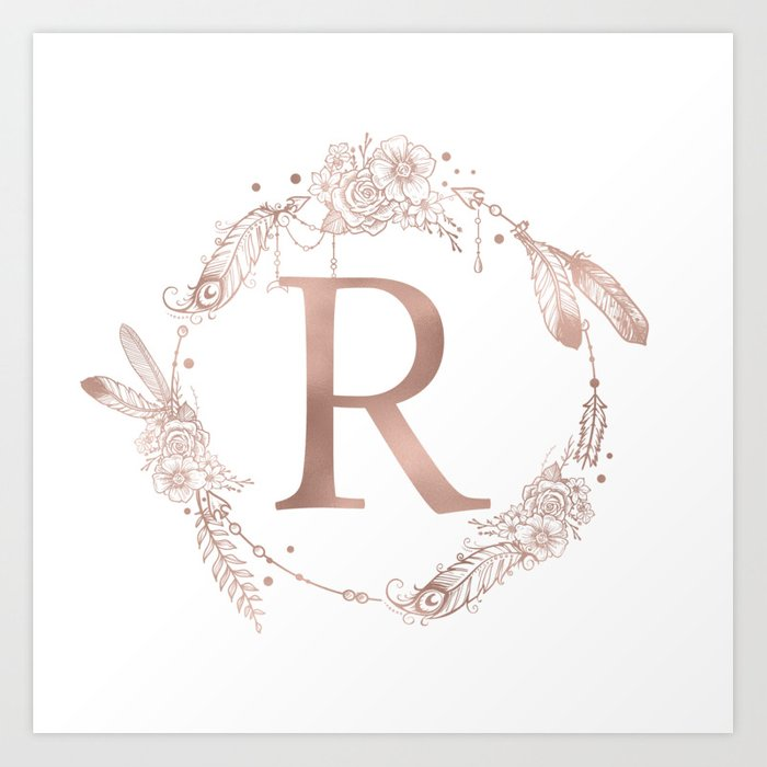 Letter R Rose Gold Pink Initial Monogram Art Print By