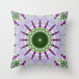 Purple Wildflower Kaleidoscope Art 3 Throw Pillow