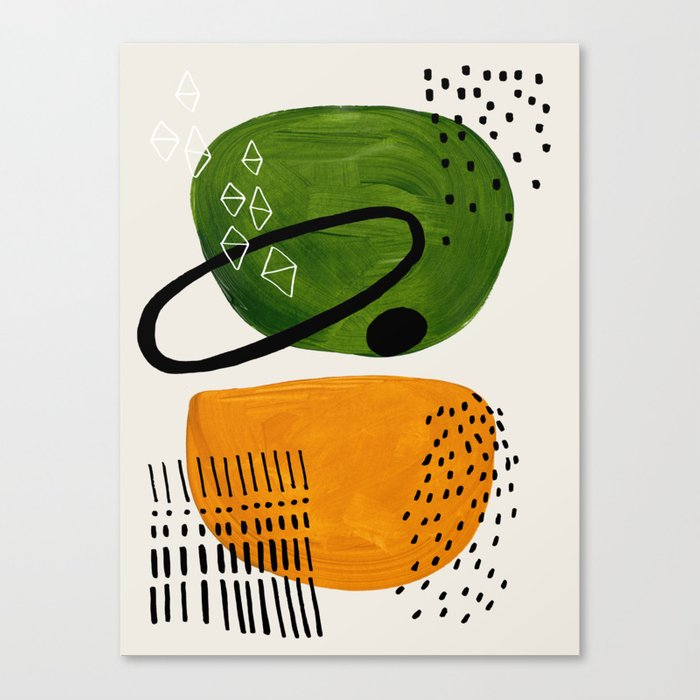 f860697a55986 Mid Century Modern Abstract Colorful Art Patterns Olive Green Yellow Ochre  Orbit Geometric Objects Canvas Print