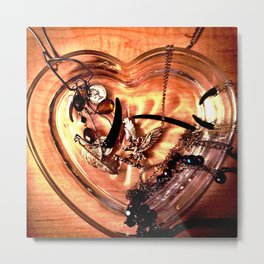 Heart and Jewelry   Metal Print