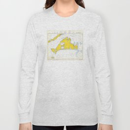 Vintage Map of Martha's Vineyard (1967) Long Sleeve T-shirt