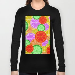 Citrus Explosion - A Pattern of Many Fruits from the Citrus Family Long Sleeve T-shirt