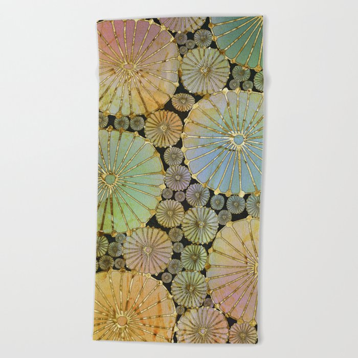 Abstract Floral Circles 2 Beach Towel
