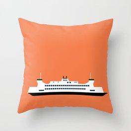 Puget Sound Ferry Pop Art - Seattle, Washington Throw Pillow