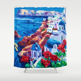 Santorini churches Shower Curtain