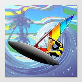 Windsurfer on Ocean Waves Canvas Print