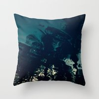 palms Throw Pillows featuring Palms by CloudedSunset