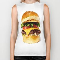 burger Biker Tanks featuring Burger by Owl Things