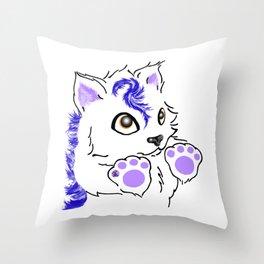 Snowfox - Blue Throw Pillow