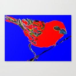 Madagascar Fody - Red/Neon Blue Pop Art Canvas Print