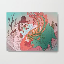 EVIL SNOWMAN vs FLAMING REINDEER Metal Print