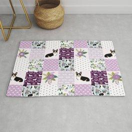 Tricolored Corgi Patchwork - feminine floral, florals corgis, dog lover, dog design, cute dogs Rug