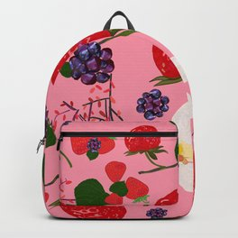 Strawberry, blackberry and vanilla flower. Red berries pattern with pink background Backpack
