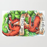 t rex Area & Throw Rugs featuring T-Rex by Little Lost Forest