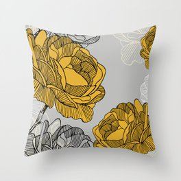 Linear flower of roses Throw Pillow