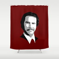burgundy Shower Curtains featuring Chive Burgundy by AJF89