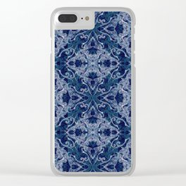 Victorian Era royal & sky blue Clear iPhone Case