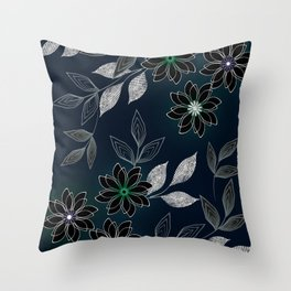 Floral pattern on dark blue background. Throw Pillow