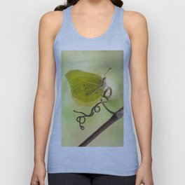 Yellow butterfly on a curly branch Unisex Tank Top