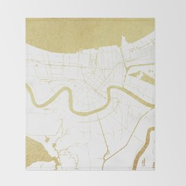New Orleans White and Gold Map Throw Blanket