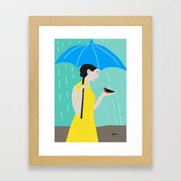 Lady in the Rain Framed Art Print