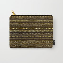 Golden Tribal Pattern on Dark wood Carry-All Pouch