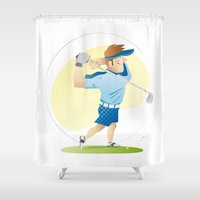 golf Shower Curtains featuring Golf by Dues Creatius