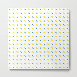 Vector yellow and blue diagonal stitches on white background, seamless pattern Metal Print