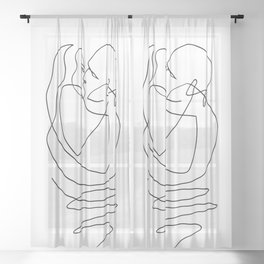 Kissing- - One Line Art Sheer Curtain