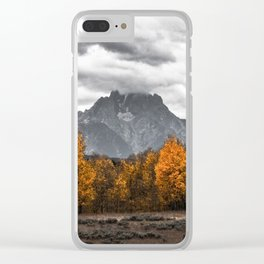 Teton Fall - Autumn Colors and Grand Tetons in Black and White Clear iPhone Case
