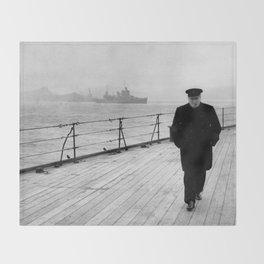 Winston Churchill At Sea Throw Blanket