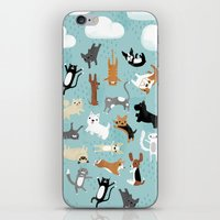 dogs iPhone & iPod Skins featuring Raining Cats & Dogs by Anne Was Here
