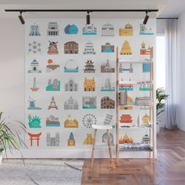 CUTE FAMOUS MONUMENTS PATTERN Wall Mural